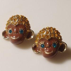 🐵 Betsey Johnson Big Chimpanzee Stud Earrings